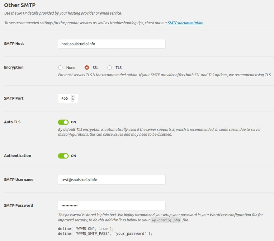 wordpress smtp plugin setup two